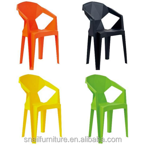 Cheap Fancy Outdoor Stacking Plastic Bright Colored Chairs With Arms