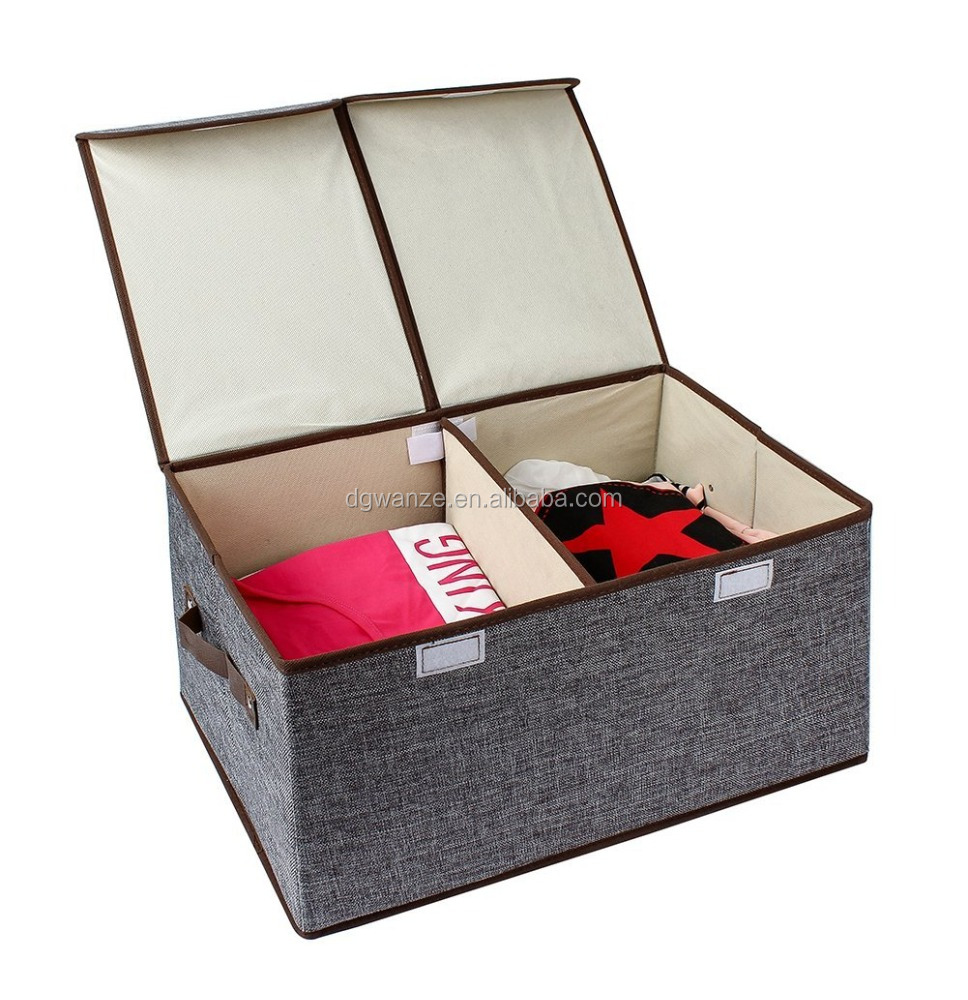 Kenather Collapsible Clothing Storage Box Closet Organizer with Cover Fabric Dust-Proof Divided 2