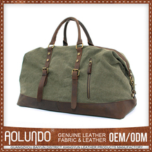 Army green tote canvas leather duffel bags for men