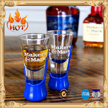 whiskey shot glass with plastic pedestal for souvenir