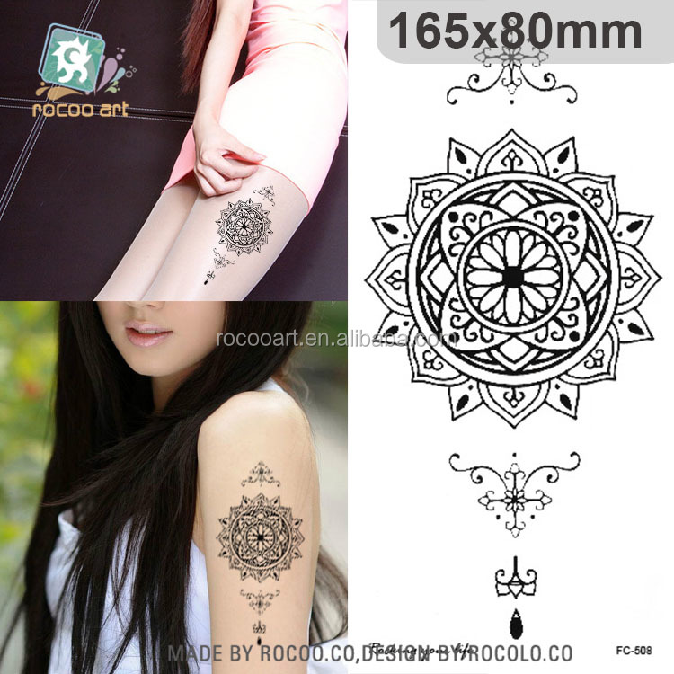 FC-508/Waterproof Black Temporary Fake Mandala Tattoos Supplies Wholesale Cover Scar