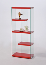 Hot Modern design red wood glass room showcase for display rack