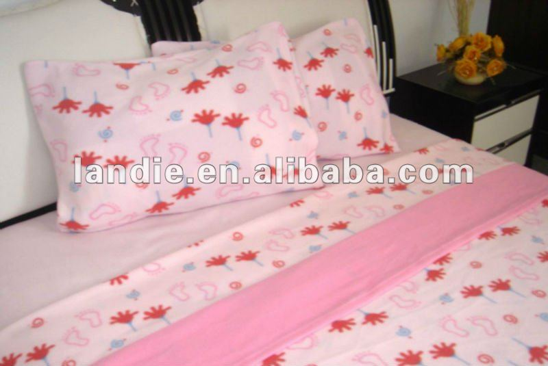 100 pct polyester knitted polar fleece bed sheet sets