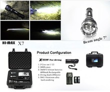 Hi-max diving flashlight 3000lm 2pcs 18650 battery magnetic switch cave dive light