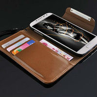 Phone case for samsung galaxy s4,flip leather case for galaxy s4 9500,wallet phone cover for galaxy s4 i9500 with stand function
