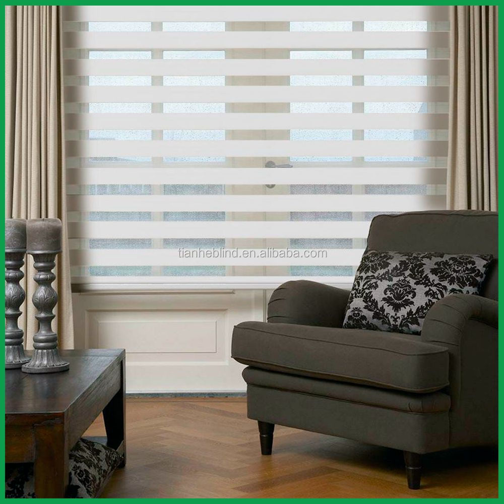 dual sheer motorized zebra roller rainbow colored decorative window blinds