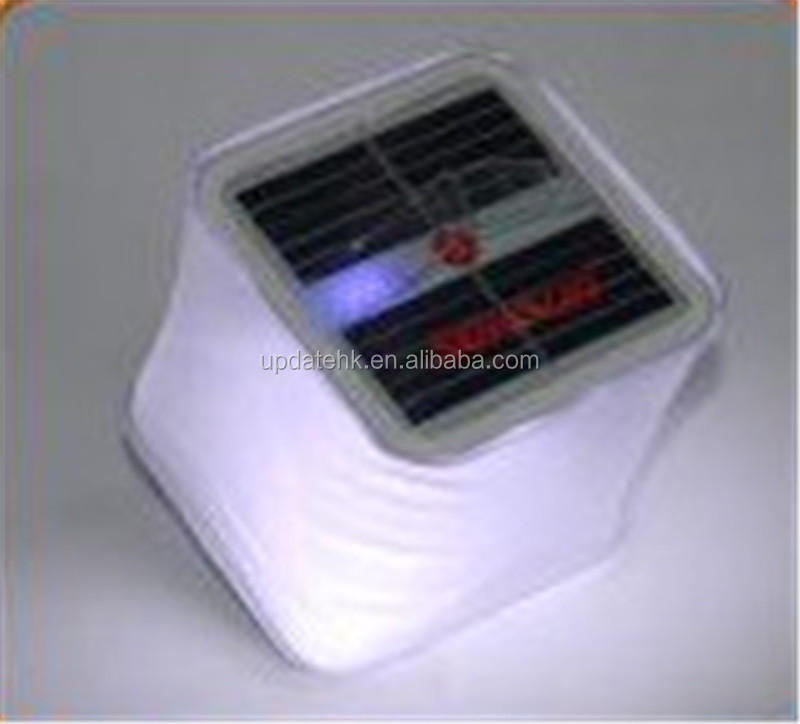Cube Semi-transparent PVC Solar Inflatable Lantern Collapsible with Battery Level Indicator