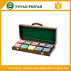 500pcs plastic poker set with professional Luxury brown wooden box