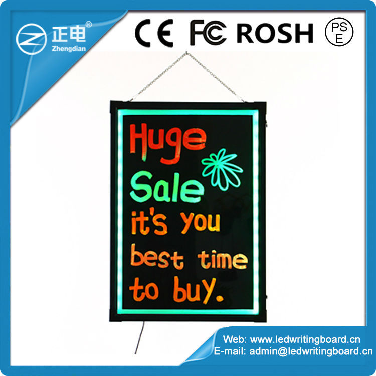 Promotion free accessories magnetic glass dry erase board aluminium RGB5050 hotel menu display board light up message board