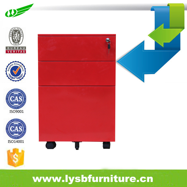 Factory cheap price metal storage 3 drawer pedestal movable file cabinet