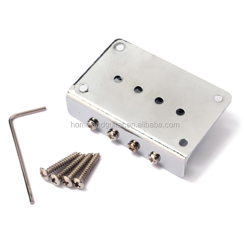 4 String Fixed Hardtail Bridge For Mandolin Ukulele Cigar Box Guitar,Chrome/Black