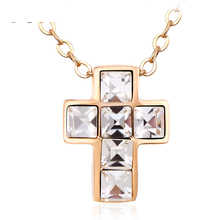 2018 New Arrival Rose Gold Necklace Jewelry 18K Gold Plated O Chain Cross Austria Crystal Pendant Necklace