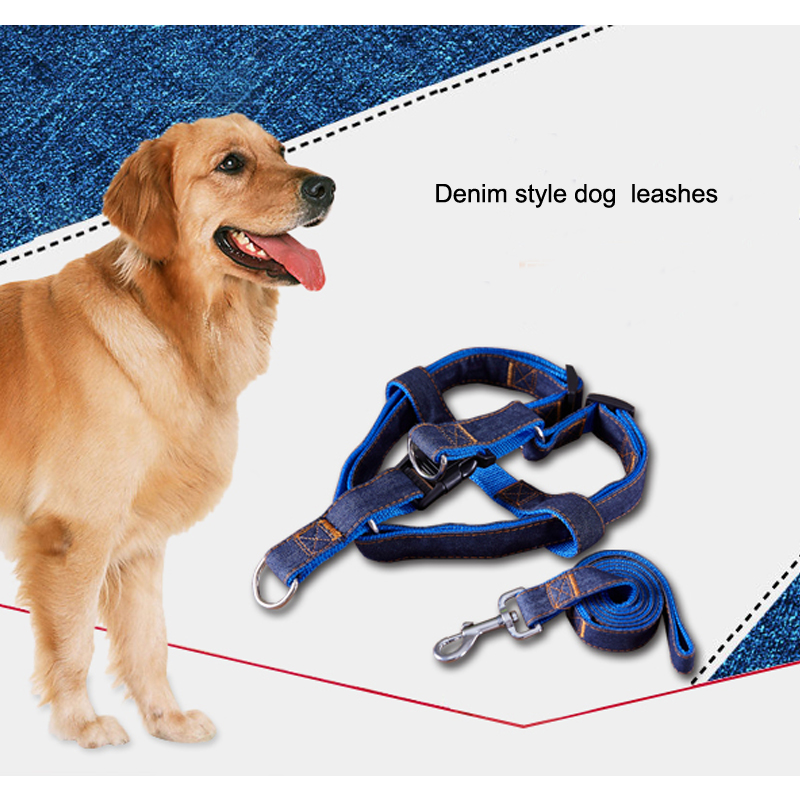 denim style double stitching dog leash retractable
