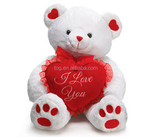 TOG washable lovely cream teddy bear stuffed animal toys with footprint hold red heart
