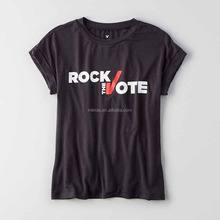 Woman New Promotion Advertising Fancy WordS Letters Text Graphic Printing ROCK THE VOTE Casual Bulk Screen Printed T-Shirts