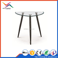 Irregular round triangle circle glass top dining table