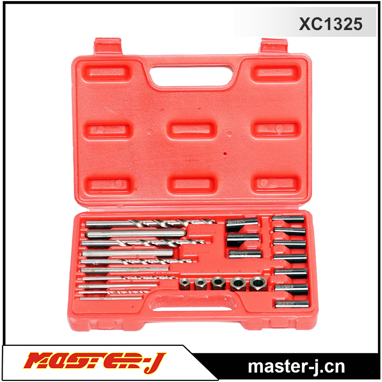 25 PCS Screw Extractor/ Drill and guide kit double heads clutch