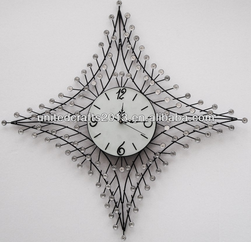 home decoration simple custom metal art sun shaped wall clock