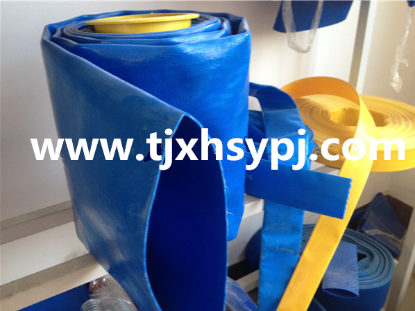 Red/Yellow and Blue Color PVC Heavy Duty Layflat Discharge Hose/Agriculture Lay Flat Hose Pipe
