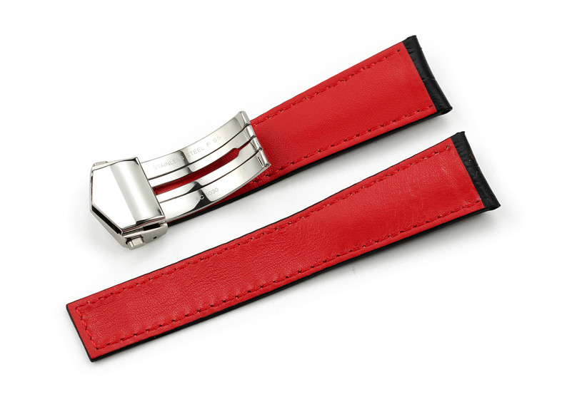 22mm/18mm Handmade Calf Leather Watch Strap Deployment Buckle For TAG Watch Band