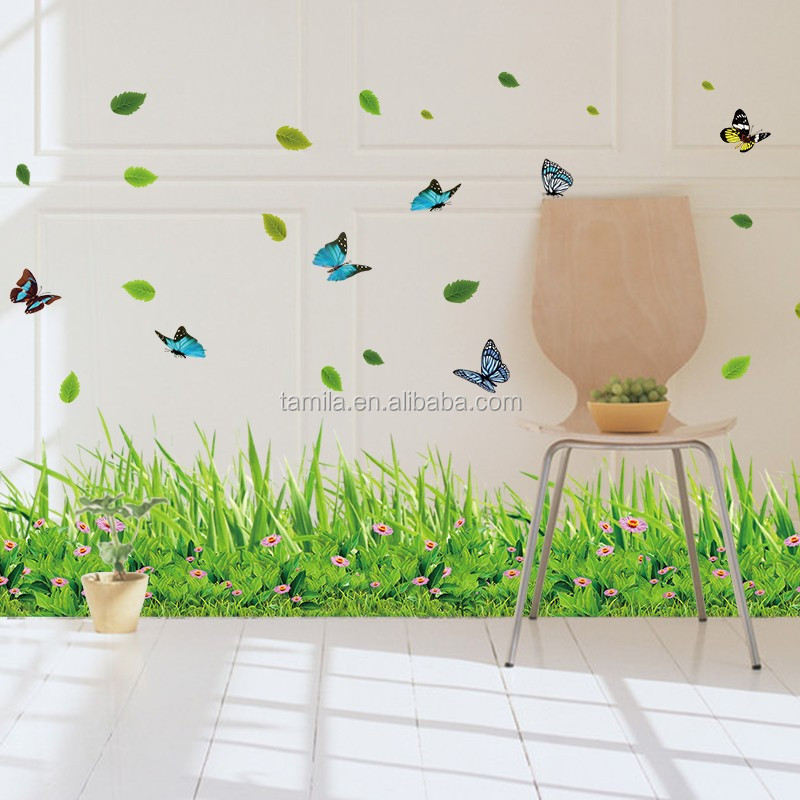 Home Decoration Butterfly Green Grass Border Wall Decal Wall Sticker