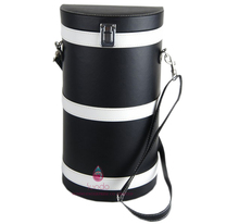 black leather two bottle wine carrier