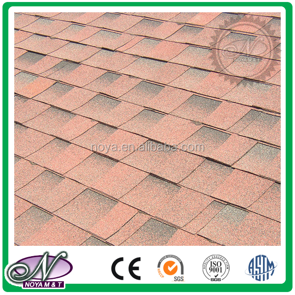 Decoration of slope roofing waterproofing coloured glaze laminated asphalt shingles with low price