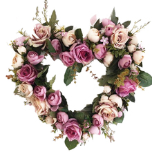 Silk Rose Heart Shaped Wedding Wreath