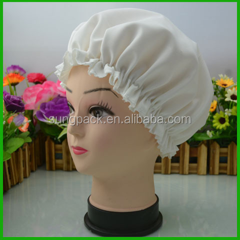 White Double Layer Adult Satin+PE Bath Shower Head Cap Waterproof Women Bathing Cap
