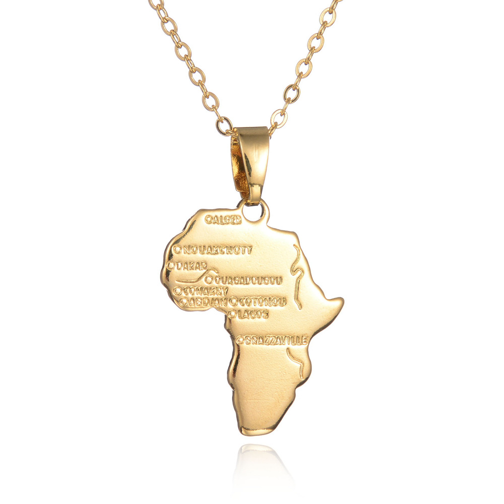 YWMT 2018 Latest Africa Map Alloy <strong>Necklace</strong> For African Women Wedding