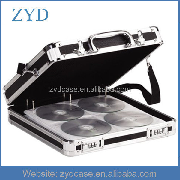 200 CD DVD Professional Black Aluminum Media Storage Case With Shoulder Strap ZYD-HZMdc005