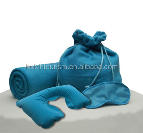 Portable blue airline blanket/eye mask/pillow travel kit