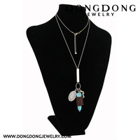 CL013 bullet shape Christian cross turquoise necklace pendant jewelry
