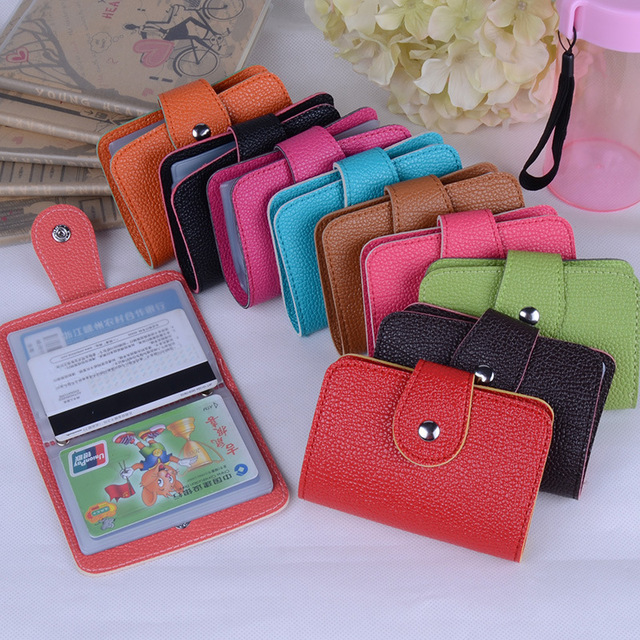 Hot Sale 24 Bits Quality PU Leather Fashion Credit Card Holder Litchi Profile Buckle ID Holders Package Organizer For Women Men