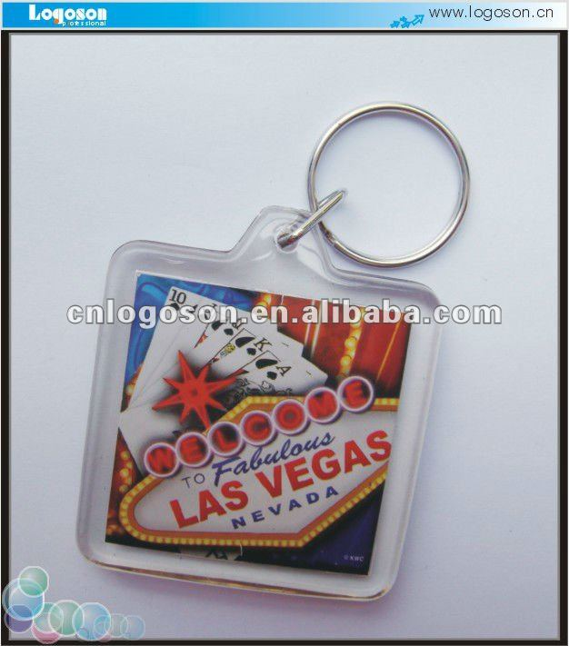 Cheap promotion acrylic keychain photo insert