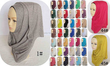 Wholesale Manufacturer Muslim Cotton Solid Color Plain Jersey Hijab Scarf Head Wrap Long Scarves JLS001