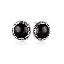 Wholesale Antique Sterling Silver Round Black Onyx Stud Earrings with Marcasite