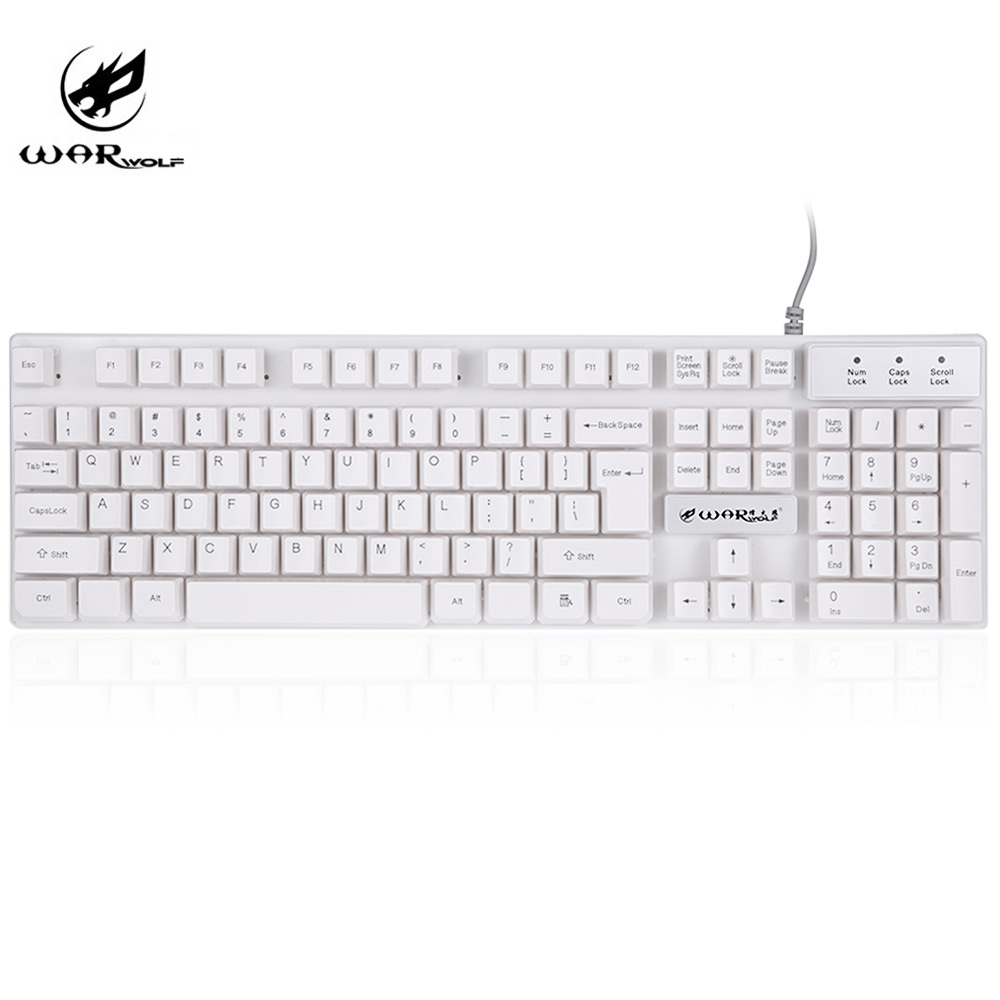 High Quality Warwolf K1 USB Wired Optical Keyboard with LED Backlight 104 Keys Alloy 2.0M USB Cable For PC Laptop