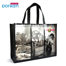 New Arrival Black Color Custom Logo Handle Non Woven Shopping Bags
