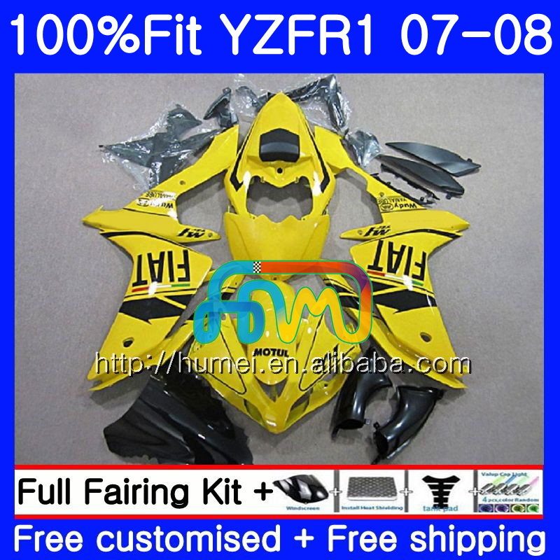 Injection Body For YAMAHA YZF <strong>R1</strong> 07 08 gloss Yellow YZF-<strong>R1</strong> 2007 <strong>2008</strong> 90HM40 YZF1000 YZFR1 YZF-1000 YZF 1000 R 1 07 08 Fairings