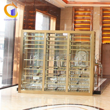 Modern Commercial Design Stainless Steel Showcase Wall Mounted Glass Display Cases
