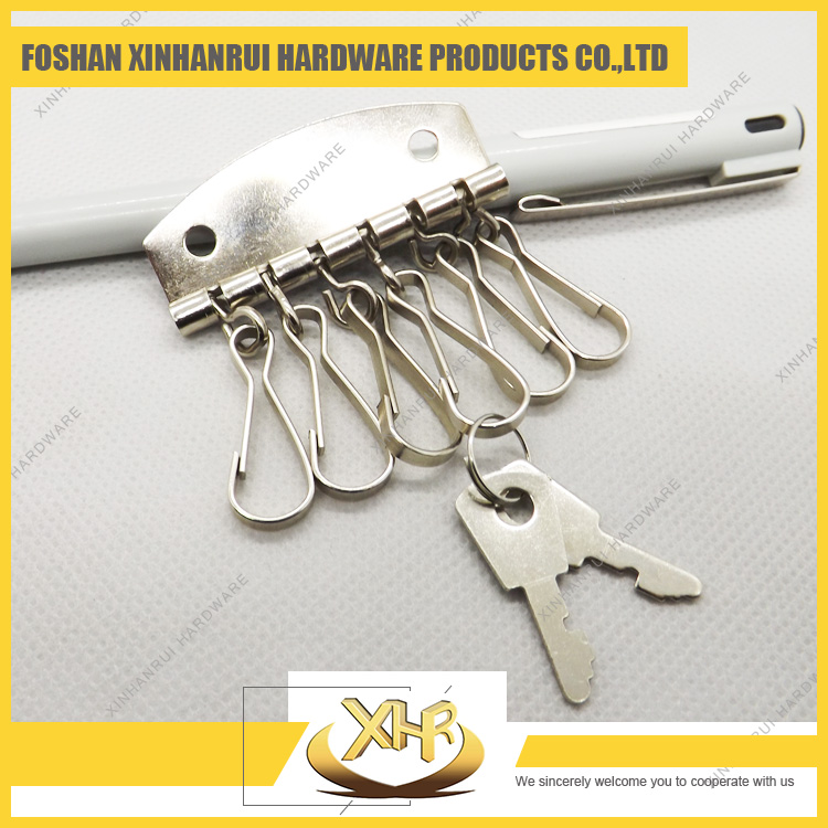 metal keyring with 6 hooks nickel plated key holder for hangbag