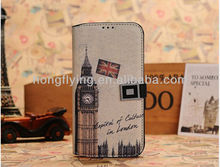 Euramerican Style Retro Pattern Flip Wallet PU Leather Case Cover For Samsung Galaxy S4 i9500 National Antique Places