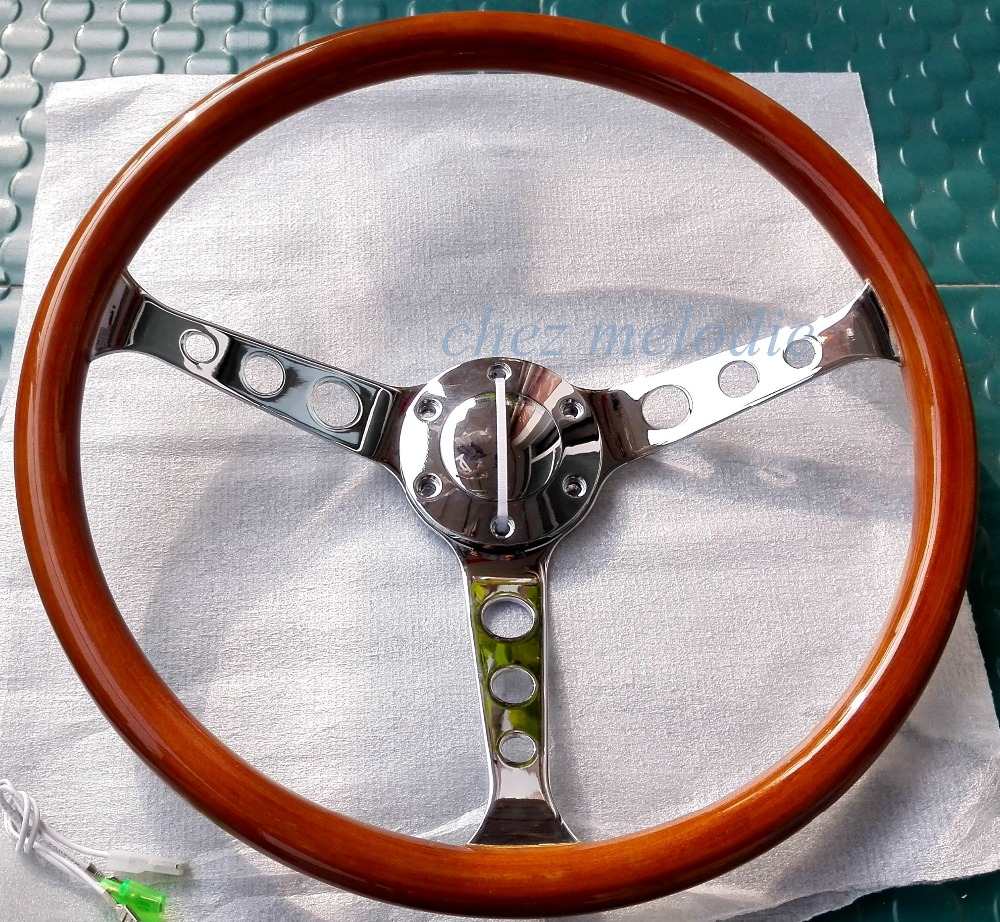 High quality15 inch 38cm universal vintage classic wood wooden auto car steering wheel with horn button all handmade