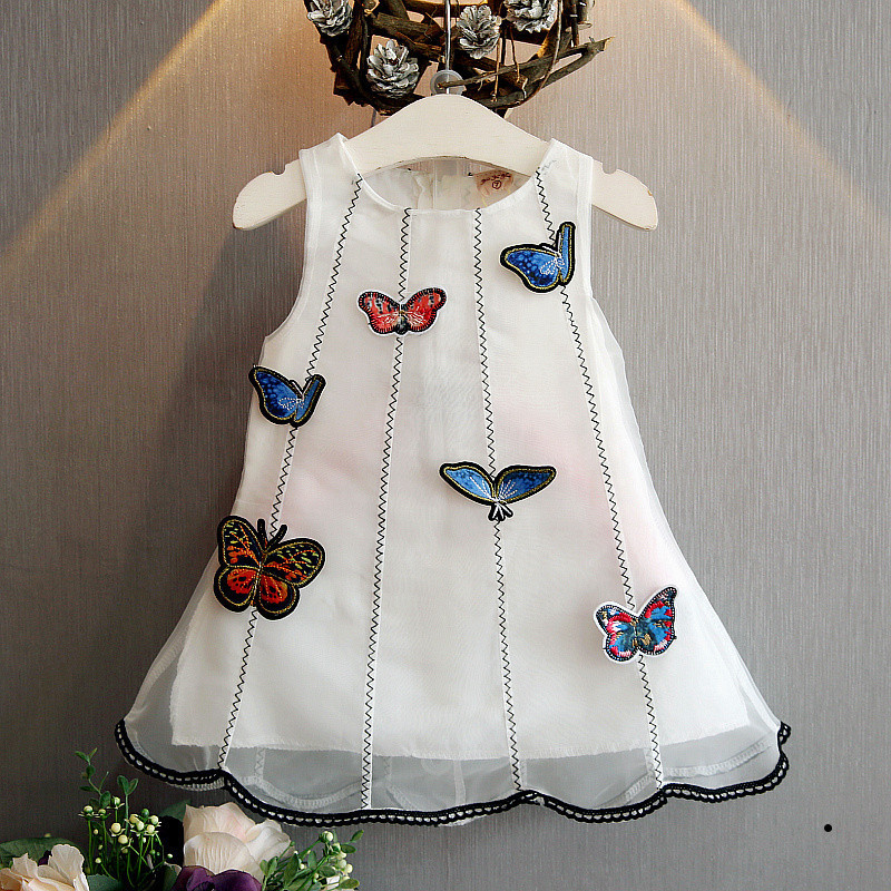 2018 wholesale baby girl white color dress butterfly kids dress