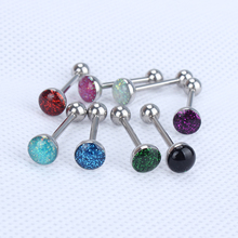 316L Stainless Steel Tongue Piercing Sparkle Glitter Dome Barbell Ring