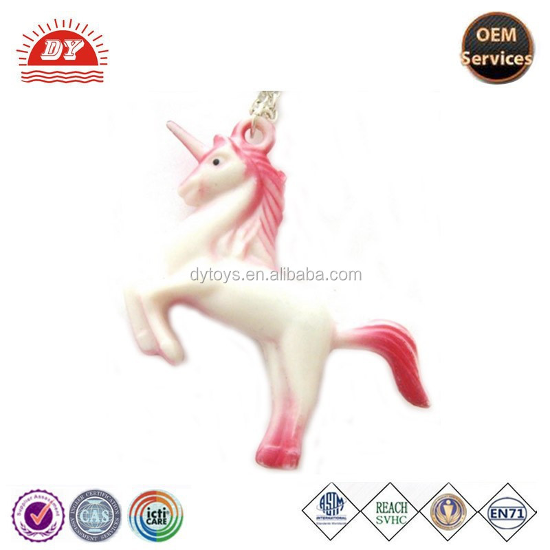 Factory wholesale good quality plastic unicorn pull key chain
