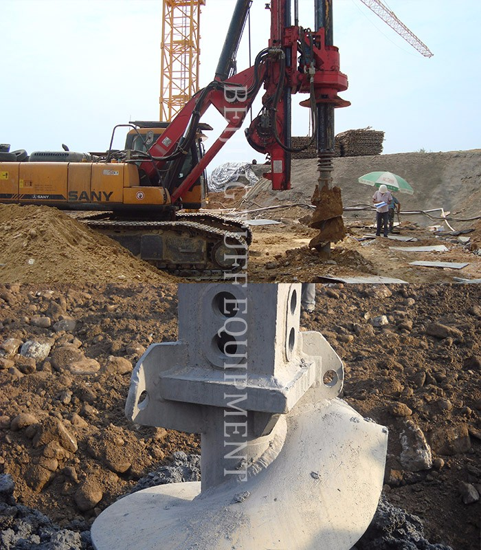 Bauer rock drilling auger with rock drilling bits