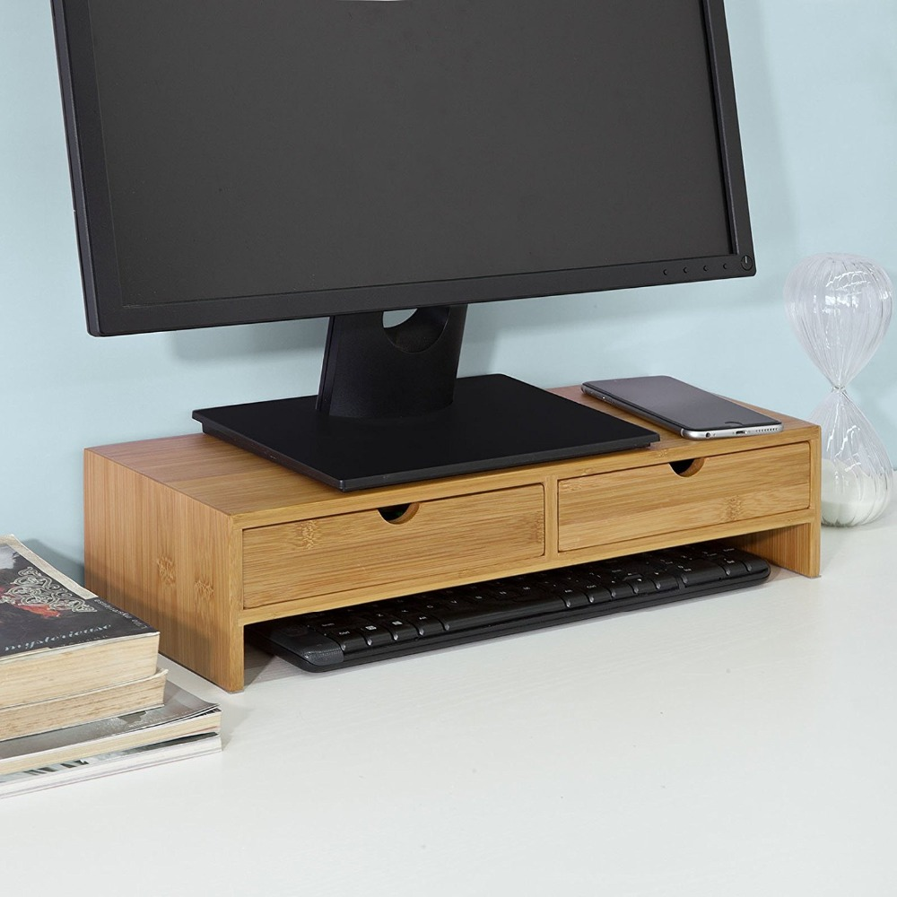 Bamboo Monitor Stand Riser with 2 Drawer Organizer