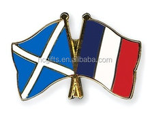 Free shipping custom design Scotland France Flag Pin